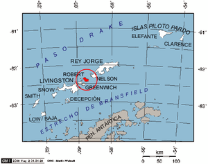 Robert Island - Location of Robert Island in the South Shetland Islands