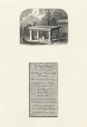 Roger Wolcott (Connecticut) - Illustration of the grave of Roger Wolcott and wife Sarah, Old Burying Ground, Windsor