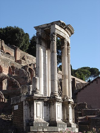 Renaissance architecture - Temple of Vesta, Rome, 205 AD. As one of the most important temples of Ancient Rome, it became the model for Bramante's Tempietto.