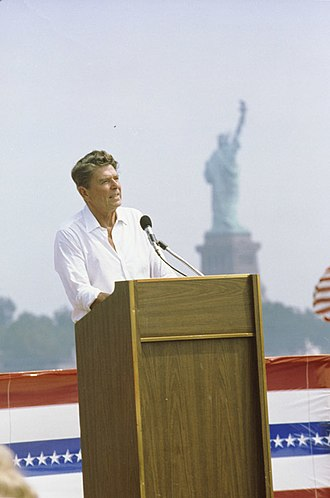 1980 United States presidential election in New Jersey - Ronald Reagan giving a speech at Liberty State Park in Jersey City, New Jersey on September 1, 1980.