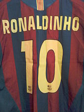 484754352 Barcelona 2005–06 season home shirt. Ronaldinho wore the number 10 for much  of his club and international career.