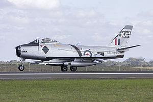CAC Sabre - Mk 32 (A94-983) landing at Avalon in 2015