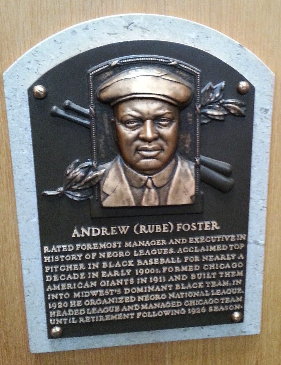 Rube Foster plaque HOF