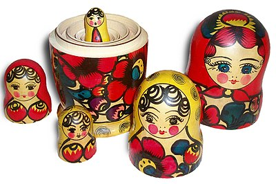 Matryoshka dolls, also known as nesting dolls or Russian dolls. Each doll is encompassed inside another until the smallest one is reached. This is the concept of nesting. When the concept is applied to sets, the resulting ordering is a nested hierarchy. Russian-Matroshka no bg.jpg
