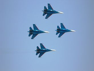 Russian Knights - 4 Sukhoi Su-27P's of the Knights in formation at Aero India 2013. The SU-27P has since been replaced with eight Su-30SM