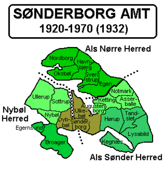 Sønderborg County - Sønderborg County. The entire province became part of South Jutland County in 1970.