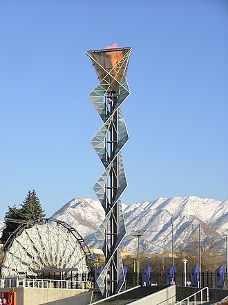 Salt Lake 2002 Olympic Cauldron Park - The cauldron from the 2002 Winter Olympics with Hoberman Arch at left.