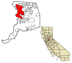 Sacramento County California Incorporated and Unincorporated areas Sacramento Highlighted.svg