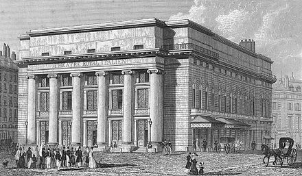 In 1829 the Theatre-Italien was performing in the first Salle Favart Salle Favart (premiere salle).jpg