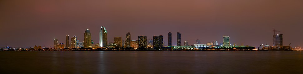 Downtown San Diego skyline at night, seen from Coronado, in November 2007