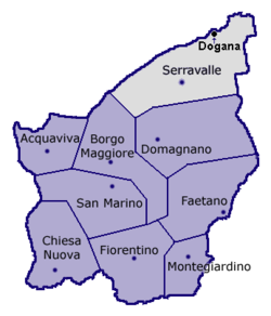 Location of Dogana within San Marino