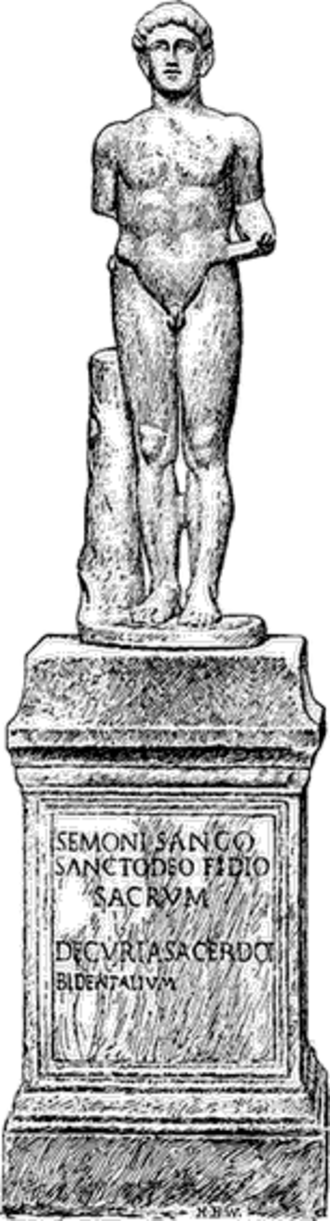 Sancus - Illustration of a statue of Sancus found in the Sabine's shrine on the Quirinal, near the modern church of S. Silvestro