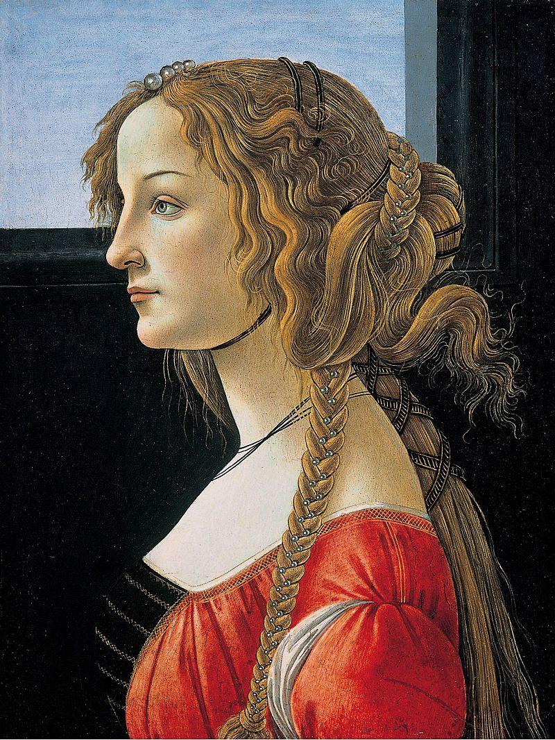 Симонетта Веспуччи, копия с портрета работы Сандро Боттичелли, 1476-1480