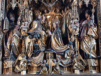 Michael Pacher - Coronation of the Virgin Mary, centerpiece of the St. Wolfgang Altarpiece