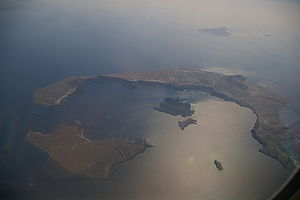 Santorini caldera - Photograph of Santorini caldera from the air.