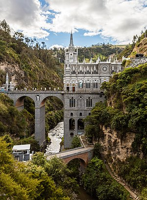Las Lajas Sanctuary is a basilica church, Nariño, municipality of Ipiales, Colombia.