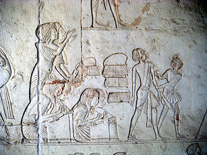 Education in Egypt - Relief of Horemheb's tomb - 18th dynasty of Egypt - Saqqara