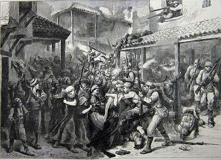 Muslim Bosniak resistance during the battle of Sarajevo in 1878 against the Austro-Hungarian occupation Sarajevo 1878..jpg