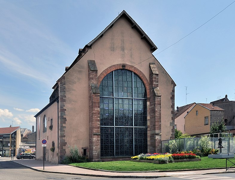 Sarrebourg, department of Moselle, France: chapelle des Cordeliers in the centre of the city. Former Franciscan church, presently a museum which displays since 1976, in the western 'opening', a stained glass by Marc Chagall. The glass is 12 m high and 7.50 m wide.