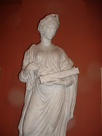 Terpsichore holding an Aeolian harp. Sculpted in marble by John Walsh in 1771.