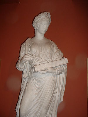 Muses in popular culture - Terpsichore holding an Aeolian harp. Sculpted in marble by John Walsh in 1771.