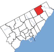 Scarborough North in relation to the other Toronto ridings (2015 boundaries).png