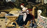 Schaffner, Martin - Painted tabletop for Erasmus Stedelin, detail woman at table - 1533.jpg