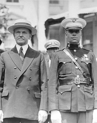 Christian F. Schilt - 1stLt Schilt and President Coolidge at the White House for the Medal of Honor presentation, c 1928. Note that his Medal of Honor is in the ''Tiffany Cross'' pattern.
