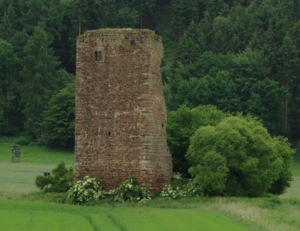 View from Hartershausen to the ruins of the Seeburg castle