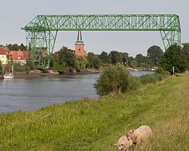 Osten Transporter Bridge over the Oste with St. Peter's Church