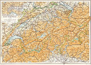 Baedeker - Map of Switzerland, published in a 1913 Baedeker travel guide