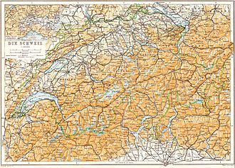 Baedeker - Map of Switzerland, published in a 1913 Baedeker travel guide
