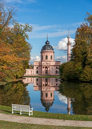 Autumn view of the Red mosque in the gardens of Schwetzingen Palace, Germany.