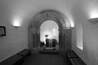 St Margaret's Chapel, Edinburgh - Interior of St Margaret's Chapel, showing the chancel arch with chevron motifs