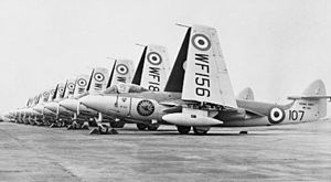 Cawdor Barracks - Sea Hawk F1s of 898 Naval Air Squadron at RNAS Brawdy, 1954.