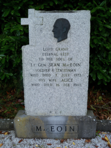Seán Mac Eoin's burial site in St. Emers Cemetery, in Ballinalee, Ireland.