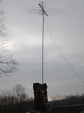 Drop (telecommunication) - A TV antenna with a long downlead visible at right