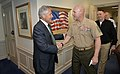 Secretary of Defense Chuck Hagel welcomes Sergeant Major of the Marine Corps Micheal Barrett as he hosts lunch for members of the Senior Enlisted Advisors to the Chairman of the Joint Chiefs of Staff.jpg