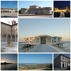 Tap left:Foro Annonario an Roum Squerr, Top center:Roca Roveresca Fortress, Tap richt:Night view o Piazzale iberta waterfront aurie, Middle left:Chiostro delle Grazie, Middle right:Rotonda a Mare, Bottom left:View o sunset in Spiaggia Velluto Beach, Bottom center:View o Senigalla frae Scapezza Hill, Bottom richt:Portici Ercolani flime misa