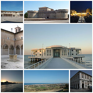 Senigallia - Top left:Foro Annonario and Rome Square, Top center:Roca Roveresca Fortress, Top right:Night view of Piazzale iberta waterfront area, Middle left:Chiostro delle Grazie, Middle right:Rotonda a Mare, Bottom left:View of sunset in Spiaggia Velluto Beach, Bottom center:View of Senigalla from Scapezza Hill, Bottom right:Portici Ercolani flime misa