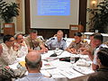 Senior civilian and military participants discuss the way forward on regional disaster response coordination during the Asia Pacific Senior Civil Military Seminar in 2010.jpg