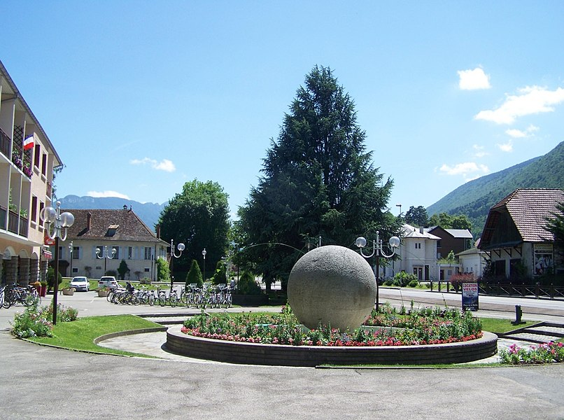 Sight of Place de la Mairie (city hall place) of city of Sevrier near Annecy in Haute-Savoie, France.