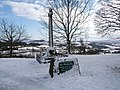 Shaftesbury, snowy view beyond the cross - geograph.org.uk - 1153108.jpg