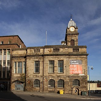 Sheffield Old Town Hall - Sheffield Old Town Hall seen from the south from Castle Street in October 2016. A large banner advertises the building for sale.