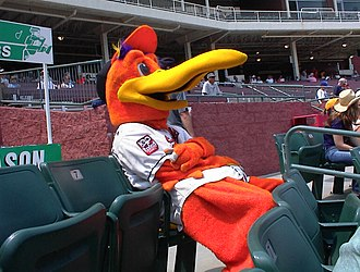 Salisbury, Maryland - Delmarva Shorebirds' mascot, Sherman, in the seats of Perdue Stadium.
