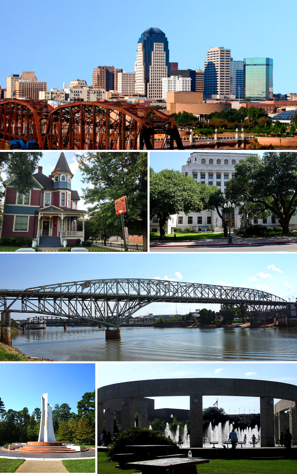 From top, left to right: Downtown Shreveport skyline, the Lewis House, Caddo Parish Courthouse, Long-Allen Bridge, Gardens of the American Rose Center monument, Shreveport Riverfront Fountain