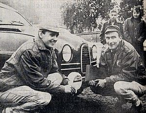 Simo Lampinen - Lampinen (on the left) at the 1964 1000 Lakes Rally with co-driver Jyrki Ahava