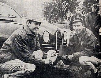 Simo Lampinen - Lampinen (on the left) at the 1964 1000 Lakes Rally with co-driver Jyrki Ahava