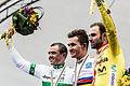 Simon Gerrans, Michał Kwiatkowski, and Alejandro Valverde 2014 UCI.jpg