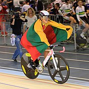 Simona Krupeckaite with flag of Lithuania